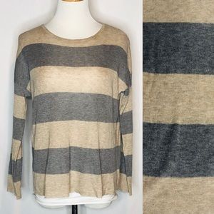 Eileen Fisher Striped Tercel/Merino Blend Sweater